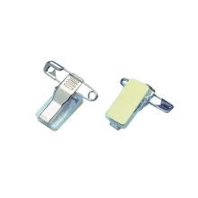 Clip with pin, adhesive back